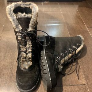 Stuart Weitzman Luge Suede/Leather Faux Fur Boots